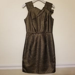 W118 Walter Baker Sparkly Black Gold Fitted Dress
